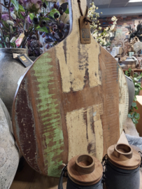 Prachtig royale oud houten  serveer-/snijplank > rond 50 cm