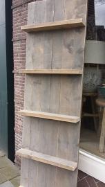 Wandbord met plankjes van steigerhout , getoond 200 x 60 cm