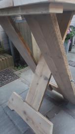 Sta-tafel van steigerhout, blad 80x80 cm