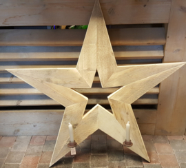 Ster van steigerhout met 2 kandelaars 100 cm