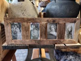 Fotolijst oud hout 4 kaders br 70cm