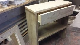 Sidetable / Hal-tafel met lade van steigerhout ( elke maat leverbaar )