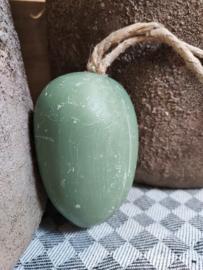 Fique Olive zeep bol  aan touw 170 gr