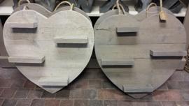 Hart van steigerhout 60 cm met plankjes in wassing