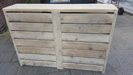 Radiator ombouw van steigerhout met horizontale lamellen