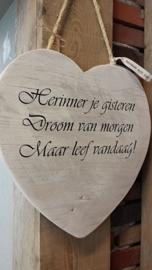 Teksthart 40 cm , steigerhout ,  white-wash,  Herinner je ....