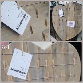 Hart van steigerhout met elastieken en knijpertjes 40 cm