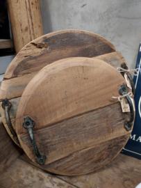 Serveer-tray / Onderbord oud hout Ø 27 cm