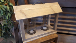Lantaarn  - tafelmodel - van steigerhout met 2 windlichten