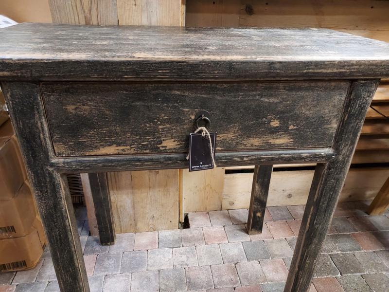 Sidetable / Wandtafel  >  zwart doorgeschuurd,  oud hout 90 cm