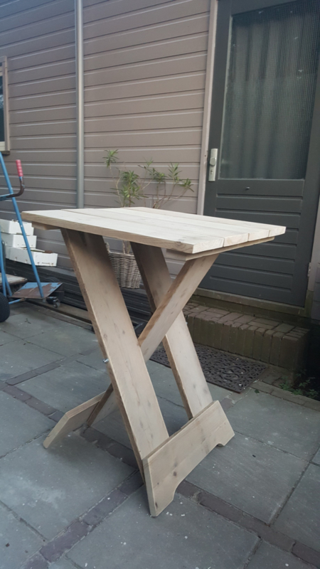 Sta-tafel steigerhout blad 80x80 cm