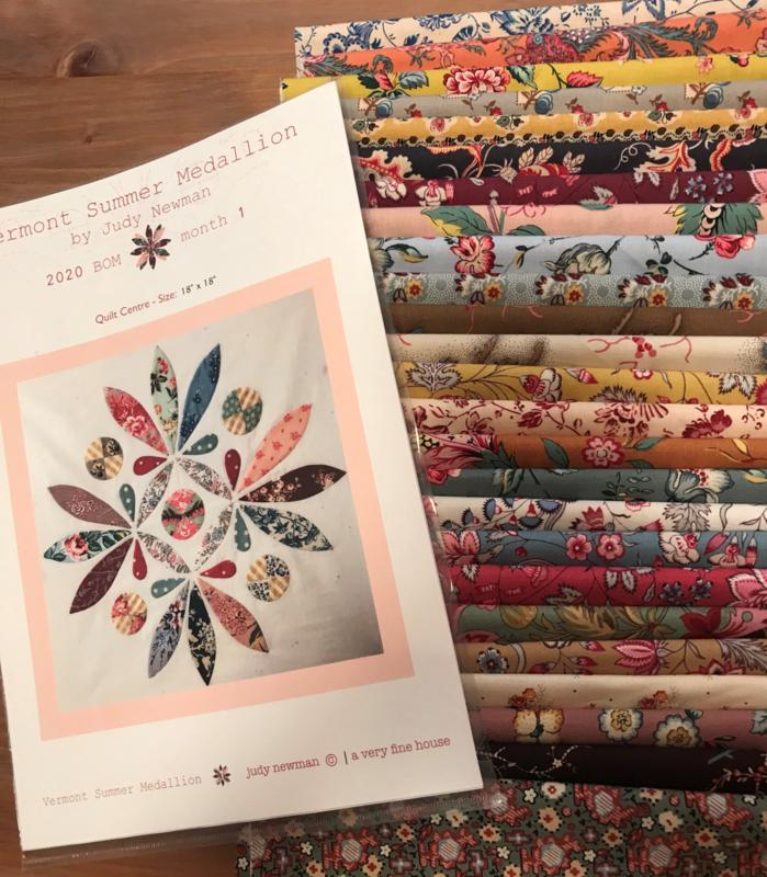 Vermont Summer Medallion fabric kit + templates + addition