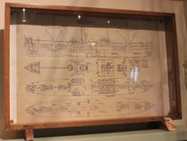 "ingelijste scheepsbouw tekening ""SS Borodino"""
