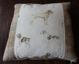 kussen met honden opdruk (aquarel)