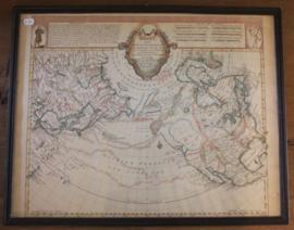 Oude ingelijste landkaart