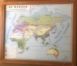 Houten wisselkader met wereldkaarten