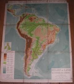 "Landkaart Zuid America ""Relief of Land"""
