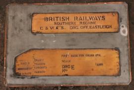 """Koperen mal voor invullen Tekeningen hoofd """"British Railways"""""""