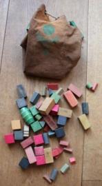 Originele zak met houten speelblokken