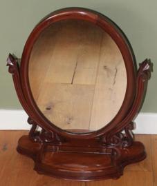 Oude Engelse Mahonie houten Kapspiegel