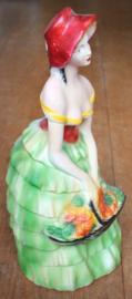 Gipsen beeld dame  met groene jurk