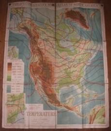 """Landkaart Noord America """"Temperature"""""""