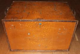 Oud Engelse metalen Notaris kist met 8 vaks verdeling