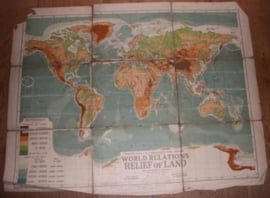 """Landkaart Wereld """"Relief of Land"""""""