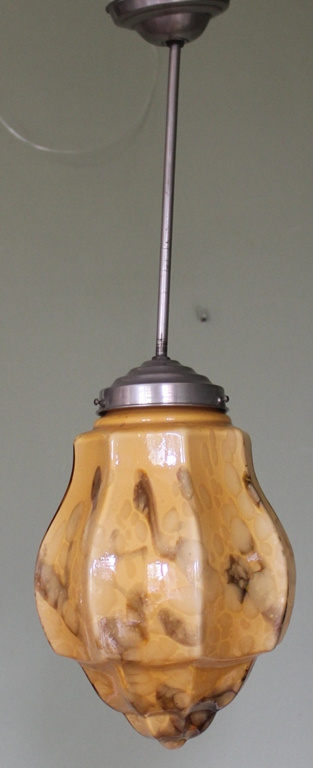 Vintage gemarmerd glazen hanglamp