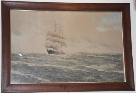 Copy van een Litho van een Zeilschip