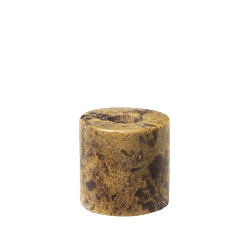 Stenen kandelaar voor potloodkaarsje; 3 kleuren verkrijgbaar