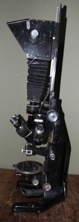 """Oude """"Beck London"""" Microscope inclusief statief voor camera"""