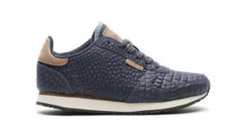 Woden sneakers croco blauw