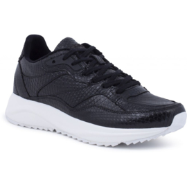 Woden sneakers snake - zwart