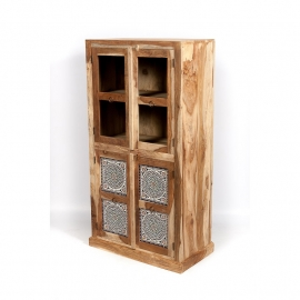 oosterse vitrinekast met helder glas en mozaïek multi