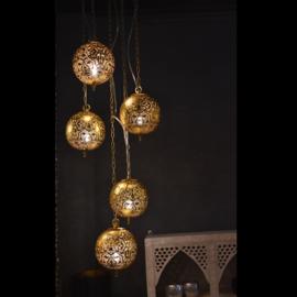 Oosterse 5 bol  hanglamp filigrain stijl-zwart-goud