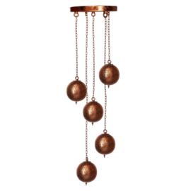 Oosterse 5 bol  hanglamp filigrain stijl-koper- koper