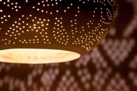 oosterse hanglamp filigrain stijl - pompoen - wit/goud