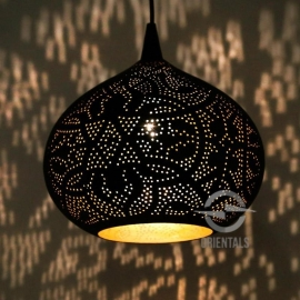 oosterse hanglamp filigrain stijl - pompoen - zwart/goud