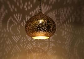 oosterse hanglamp filigrain stijl - pompoen - vintage goud