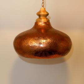 Orientaalse hanglamp met massief houten bovenkant - filigrain style - vintage koper