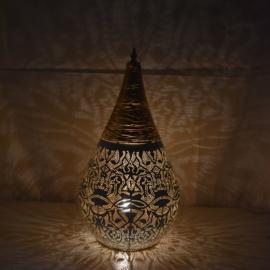Oriëntaalse tafellamp filigrain style druppel klein - vintage goud/ wit