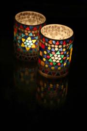 sfeervolle waxinehouder cilinder - mozaïek multi colour - indian design