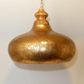 Orientaalse hanglamp met massief houten bovenkant - filigrain style - vintage goud