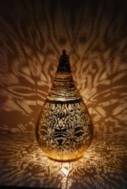Oriëntaalse tafellamp filigrain style druppel - vintage goud