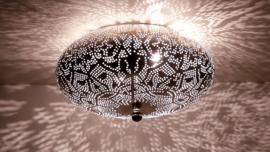 Oosterse plafonnière filigrain 25 cm - vintage zilver