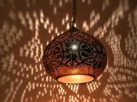 oosterse hanglamp filigrain stijl - pompoen - vintage koper