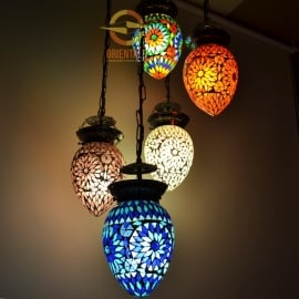 oosterse 5 bol hanglamp papaja - mozaïek