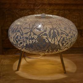 Oriëntaalse tafellamp filigrain style ufo - vintage white gold