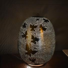 Oriëntaalse tafellamp filigrain style butterfly - silver